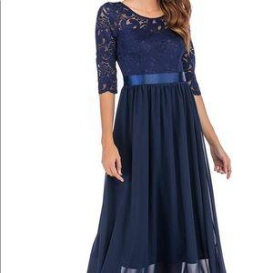 M NAVY BLUE lace chiffon gown formal maxi dress